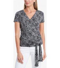 vince camuto women's cap sleeve iced leopard faux wrap tie waist top