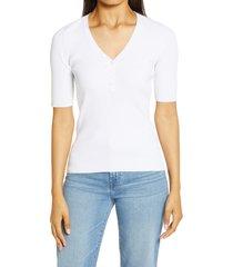 women's halogen rib henley sweater, size xx-large - white
