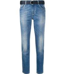 jacob cohen belted slim-fit jeans - blue