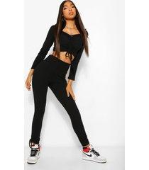 tall geplooide crop top met lange mouwen en legging set, black
