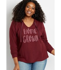 maurices plus size womens maroon homegrown waffle knit hoodie red