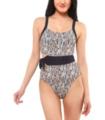 jessica simpson snakeskin-print side-tie swimsuit women's swimsuit