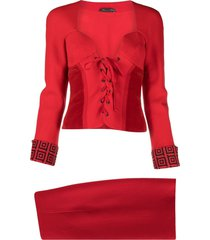 versace pre-owned 2000s lace-up skirt suit - red