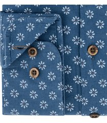 sleeve7 heren overhemd donkerblauw bloemen print modern fit