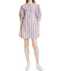 ganni stripe organic cotton seersucker dress, size 2 us in pink nectar at nordstrom