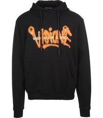 vision of super black and fluo orange man visione hoodie