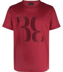 billionaire double b crystal embellished cotton t-shirt - red