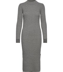 ls roll neck knitted midi dress knälång klänning grå calvin klein