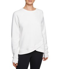 betsey johnson performance women's crossover faux shearling sweatshirt - black - size s