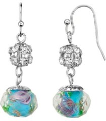 2028 silver tone aqua and pink flower bead with crystals drop wire earring