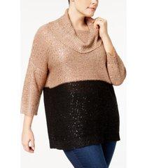 belldini plus size sequined cowl-neck sweater