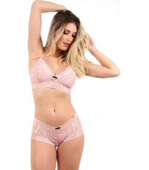 conjunto imi lingerie sem bojo caleã§on em renda melinda ros㪠- /rosa/ros㪠- feminino - renda - dafiti