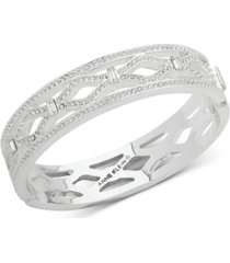 anne klein silver-tone pave openwork bangle bracelet, created for macy's