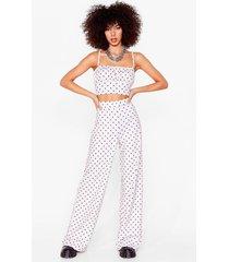 womens dot no regrets crop top and wide-leg pants set - ivory