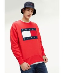 tommy hilfiger men's tommy flag sweatshirt racing red - xxl