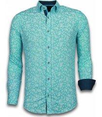 overhemd lange mouw tony backer blouse leaves pattern turqoise