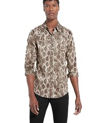 camisa ls luxe lost angels shirt marrón guess