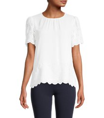 tommy hilfiger women's eyelet puffed-sleeve top - ivory - size xs