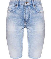 long frayed denim shorts