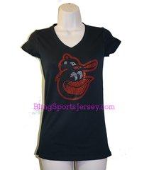 baltimore orioles jersey rhinestone bling t-shirt v-neck