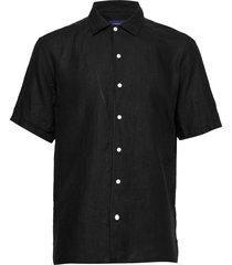 resort linen shirt overhemd met korte mouwen zwart eton