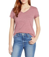 women's wit & wisdom chain trim v-neck tee, size x-large - burgundy (nordstrom exclusive)