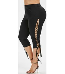 plus size o-ring lace up high rise cropped leggings