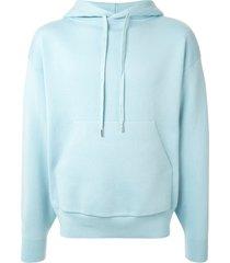 caban fine knit drawstring hoodie - blue