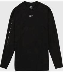 camiseta manga larga negro-blanco reebok utility