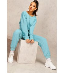 mix & match edition sweat jogger jumpsuit, teal
