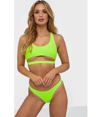 missguided neon cut out front detail bikini set hela set