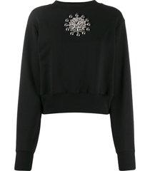 christopher kane crystal brooch sweatshirt - black