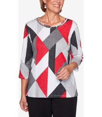 alfred dunner petite knightsbridge station diamond-print top