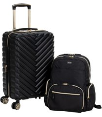 """2-pc. 20"""" chevron carry-on 15"""" laptop backpack set"""