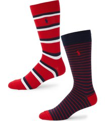 polo ralph lauren men's 2-pair striped crew socks - red
