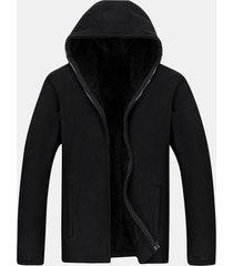 mens casual solid sporciola maglia grande zip zip hoodie warm coat
