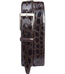 men's big & tall torino caiman alligator leather belt, size 46 - brown