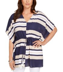 charter club tie-waist striped poncho top, created for macy's