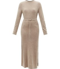 alice buttoned-sleeve knitted cashmere dress
