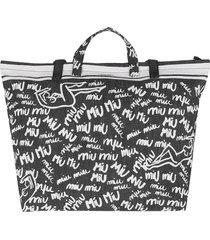 miu miu designer handbags, black & white scribble print canvas tote