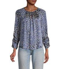 rebecca taylor women's autumn bloom long-sleeve blouse - navy combo - size 2