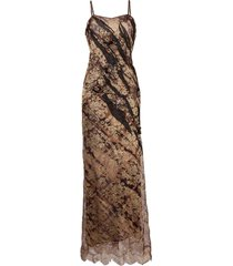 a.n.g.e.l.o. vintage cult 1990s animal-print lace fitted dress - brown