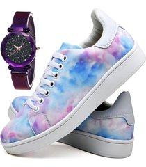 tênis sapatênis fashion tie dye com relógio luxury feminino dubuy 734el colorido