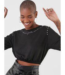 camiseta cropped dimy strass preta - kanui