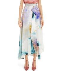 women's roksanda watercolor print silk maxi skirt, size 4 us - ivory
