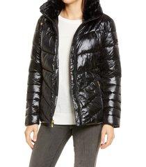 women's via spiga water resistant faux fur collar puffer jacket, size large - black