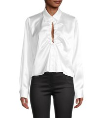 cistar new york women's eden ruched satin shirt - white - size m