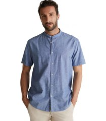 camisa de manga corta con cuello alto azul esprit