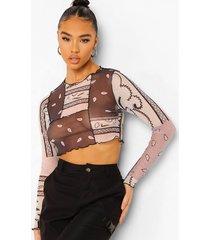 bandana mesh crop top met lange mouwen en naaddetail, multi