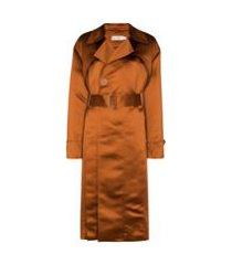 xu zhi trench coat com abotoamento simples e cinto - marrom